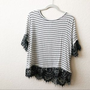 NWOT STRIPES AND LACE T SHIRT